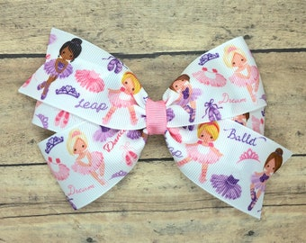 Ballerina hair bow - 5 inch hair bows, hair bows, bows for girls, baby bows, toddler hair bows, girls hair bows