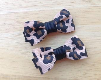 Leopard print hair bows - pigtail bows, hair bows, bows for girls, baby bows, baby girl bows, toddler bows