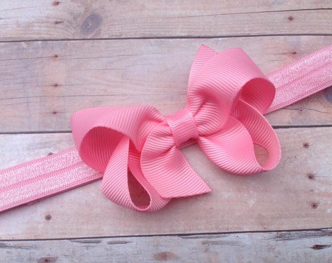 Pink baby headband - baby headband bows, baby girl headbands, newborn headbands, baby bows, hair bows