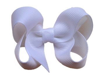 White hair bow - white bows, hair bows for girls, baby bows, toddler hair bow, pigtail bows, 3 inch hair bows