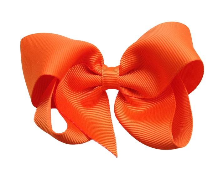 Orange hair bow - hair bows, bows for girls, hair clips, baby bows, toddler bows, girls bows, boutique bows, hairbows, pigtail