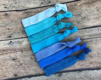 Set of 7 blue elastic hair ties - hair ties, ponytail holders, no crease hair ties, hair accessories