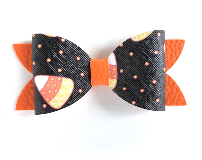 Halloween hair bow - faux leather bow, hair bows, bows, hair bows for girls, baby bows, toddler hair bows, leather bows, hair clips