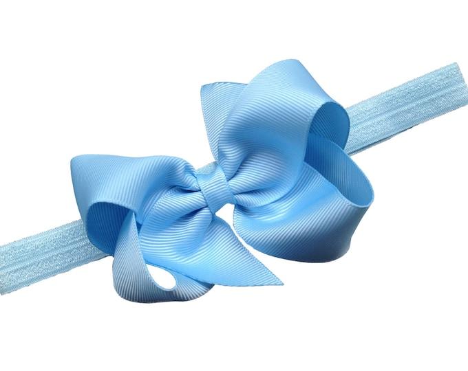 Light blue baby headband - baby headband bows, baby girl headband, baby bows, newborn headband, hair bows, baby bow headband, baby girl