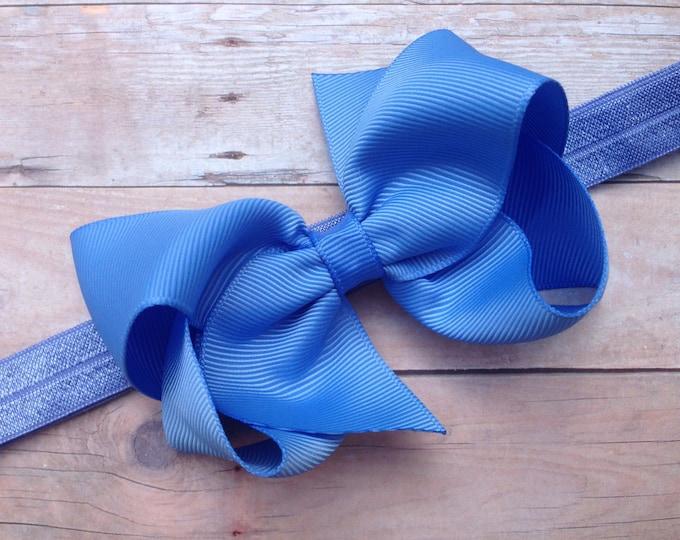 Carolina blue baby headband - baby girl headband, baby headband bows, newborn headband, baby bows, baby bow headband, hair bows