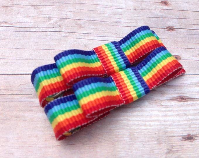 Rainbow hair bows - hair bows, hair clips, bows for girls, baby bows, baby hair clips, baby girl bows