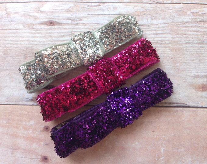 Set of 3 glitter hair clips - hair bows, hair clips, bows for girls, baby bows, hair clips for girls, baby hair clips, hairbows
