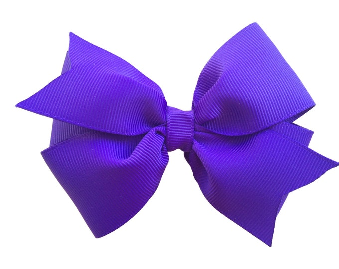 Royal purple hair bow - hair bows for girls, purple bows, toddler hair bows, 4 inch hair bows, pinwheel bows