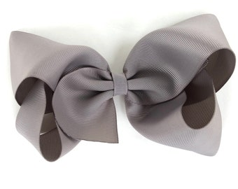 Large hair bow - 6 inch hair bows, hair bows, gray hair bow, cheer bows, big hair bows, girls hair bows, toddler bows