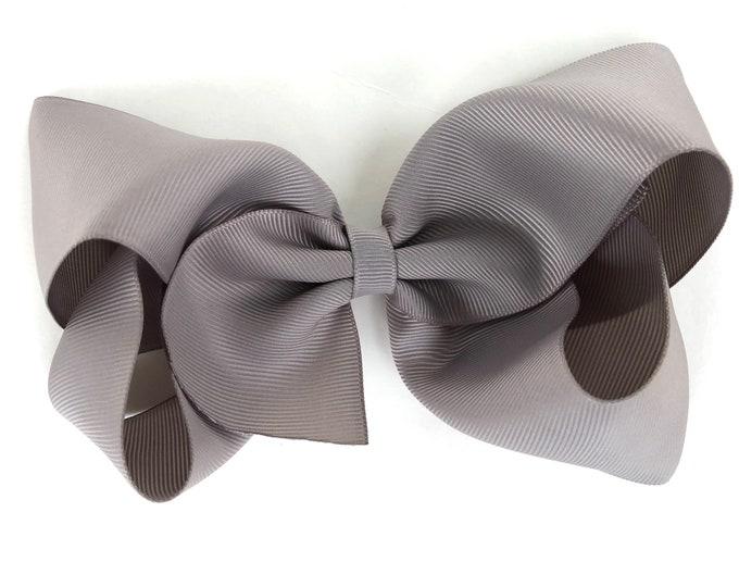 Large hair bow - 6 inch hair bows, hair bows, gray hair bow, cheer bows, big hair bows, girls hair bows, toddler bows