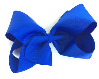 Large hair bow - 6 inch hair bows, hair bows, royal blue bows, cheer bows, big bows, blue hair bows, girls hair bows