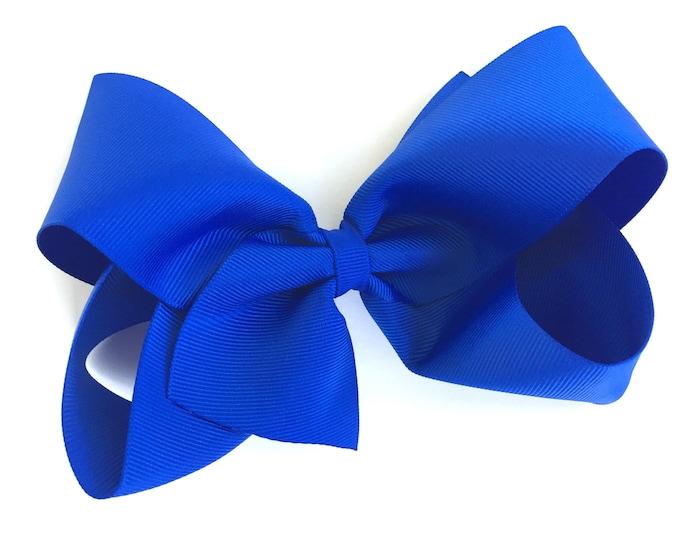 Large hair bow - 6 inch hair bows, hair bows, royal blue bows, cheer bows, big bows, blue hair bows, girls hair bows