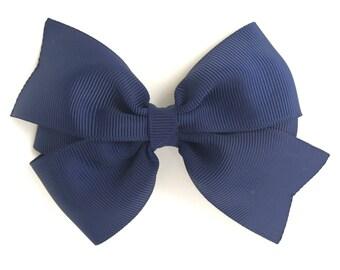 Navy blue hair bow - hair bows, bows for girls, baby bows, toddler hair bows, girls hair bows, pigtail bows, hairbows