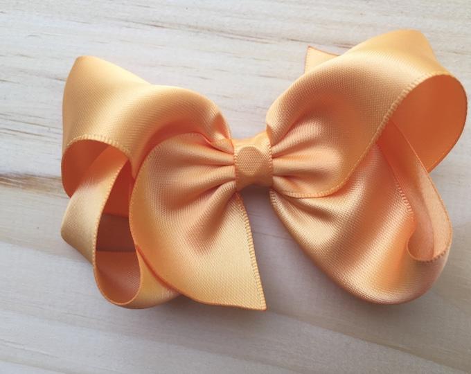 Satin hair bow - gold hair bow, hair bows, baby bows, toddler hair bows, girls hair bows, satin bows
