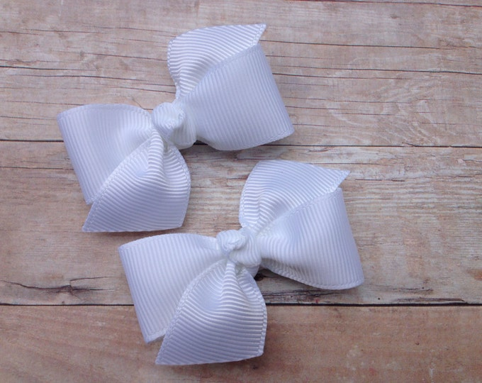 White pigtail bows - hair bows, hair clips, baby bows, baby hair bows, pigtail bows, hair bows for girls