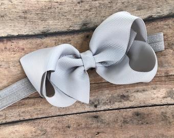 Light gray baby headband - baby headband, baby headband bows, baby girl headbands, newborn headbands, baby bows, hair bows