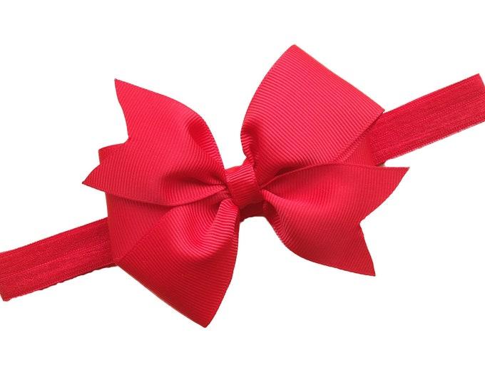 Red baby headband - baby headband bows, baby bows, newborn headbands, baby girl headbands, headbands baby