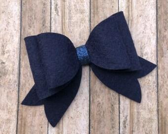 Navy blue felt hair bow - felt bows, hair bows, hair bows for girls, toddler bows, hair clips for girls