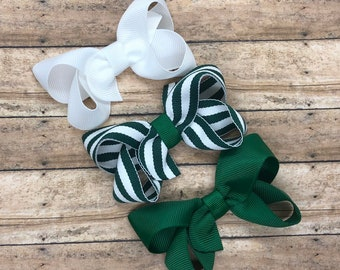 Back to school hair bow set - 3 inch hair bows, hair bows, bows, hair clips, hair bows for girls, baby bows, pigtail bows, girls hair bows
