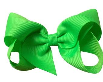 Neon green hair bow - hair bows, girls hair bows, baby bows, toddler hair bows, big hair bows, boutique bows