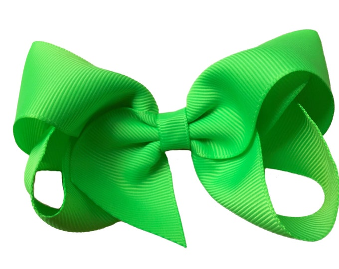 Neon green hair bow - hair bows, girls hair bows, baby bows, toddler hair bows, big hair bows, boutique bows