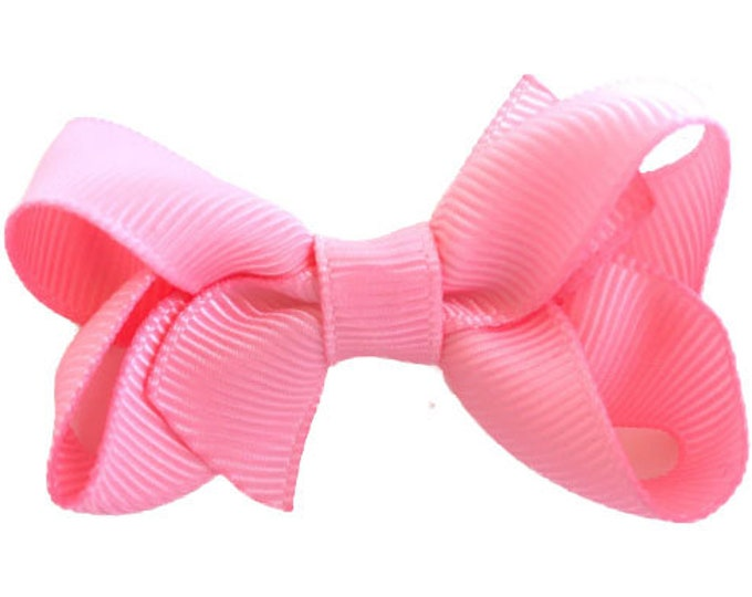 Pink hair bow - baby bows, hair bows for girls, small bows, toddler hair bows, pigtail bows