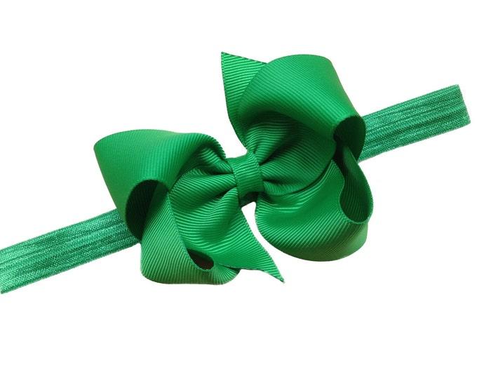 Green baby headband - baby headband, baby girl headband, baby headband bows, newborn headband, baby bows, baby bow headband