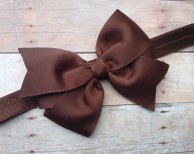 Brown baby headband - baby headband, baby headband bows, baby girl headbands, newborn headband, baby bow headband, baby bows