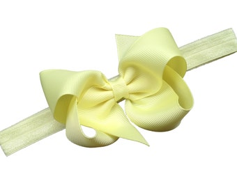 Light yellow baby headband - baby girl headband, baby headband bows, newborn headband, baby bows, baby bow headband