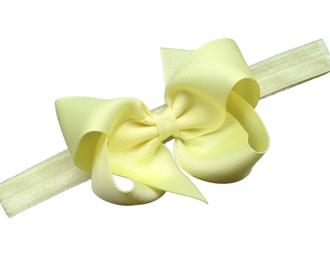 Light yellow baby headband - baby girl headband, baby headband bows, newborn headband, baby bows, baby bow headband