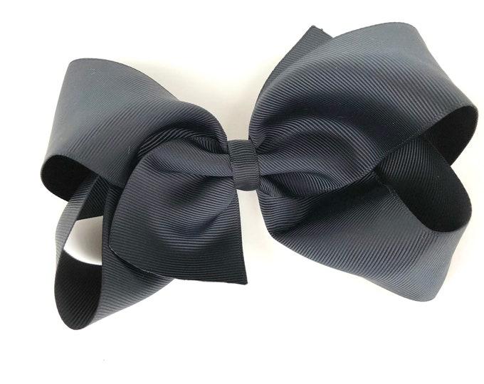 Large hair bow - 6 inch hair bows, black hair bow, bows for girls, cheer bows, big hair bows, toddler hair bows