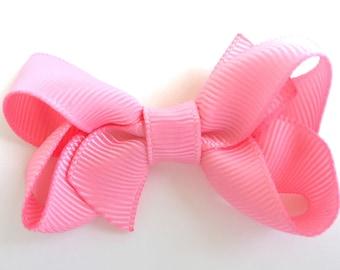 Pink hair bow - baby bows, hair bows for girls, small bows, toddler hair bows, pigtail bows