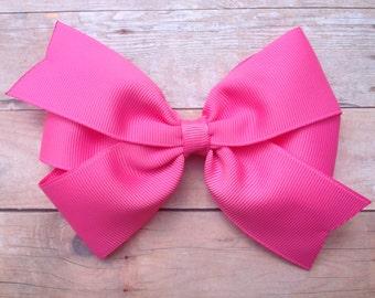 Pink hair bow - 5 inch hair bows, hair bows, bows for girls, baby bows, toddler hair bows, girls hair bows