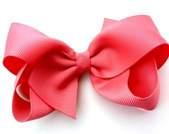 Coral hair bow - hair bows, bows for girls, toddler bows, girls bows, boutique bows, big hair bows
