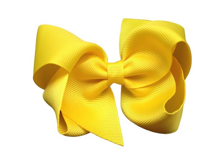 Yellow hair bow - hair bows, bows for girls, boutique hair bows, toddler hair bows, 4 inch hair bows