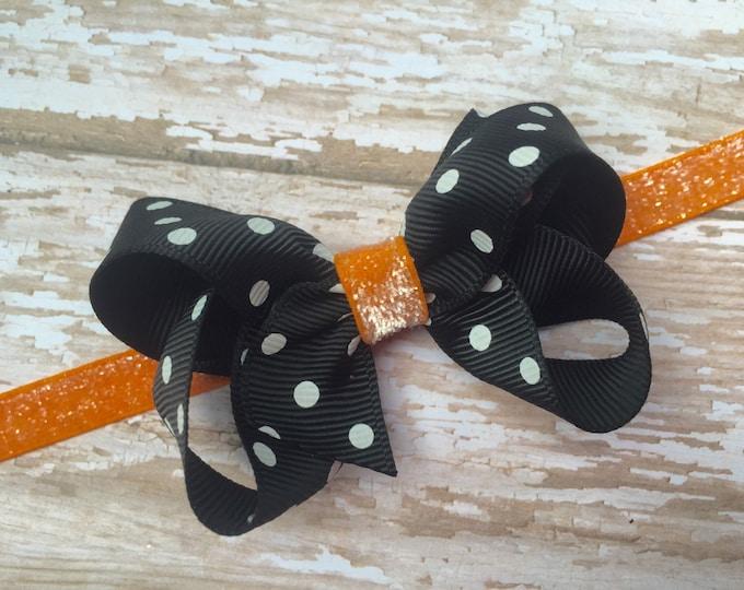 Halloween baby headband - bow headband, baby bow headband, newborn headband, baby girl headband, baby headband bows, hair bows, baby bows