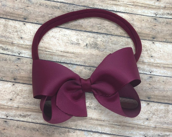 Burgundy baby headband - baby girl headband, nylon headband, baby headband bows, newborn headband, baby bows, baby bow headband, hair bows
