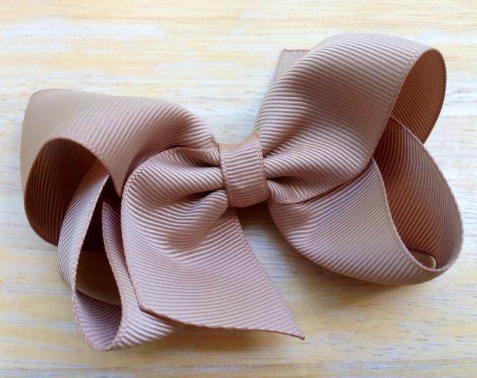 Tan hair bow - hair bows, bows, hair clips, hair bows for girls, baby bows, girls hair bows, baby hair bows, toddler hair bows, hairbows
