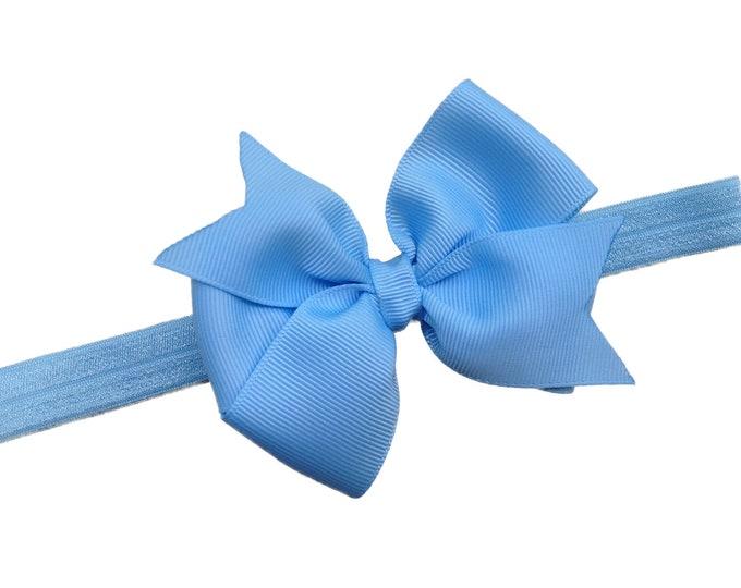 Light blue baby headband - baby headband bows, baby girl headbands, baby bows, baby bow headbands, newborn headbands