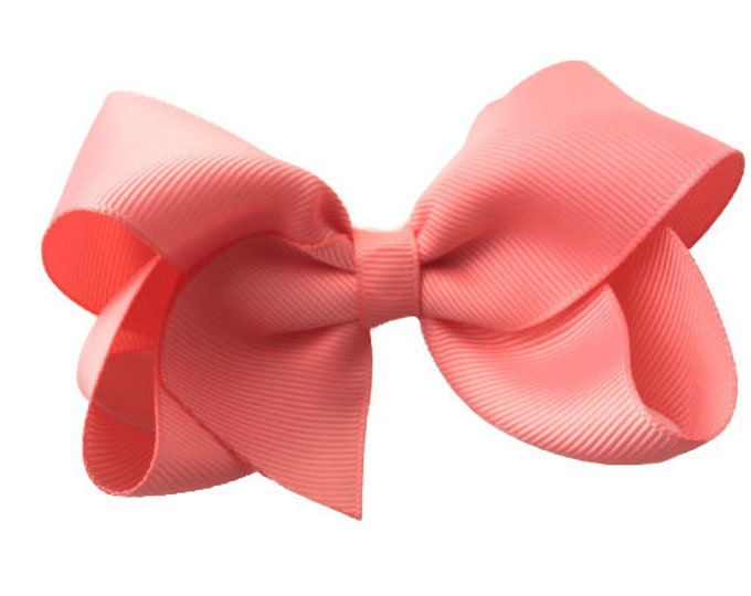 Light coral hair bow - hair bows, bows for girls, girls bows, boutique bows, toddler bows, baby bows, 4 inch hair bows