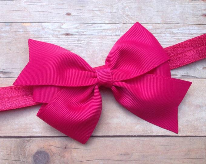 Fuchsia baby headband - baby headband bows, newborn headbands, baby bows, baby girl headbands