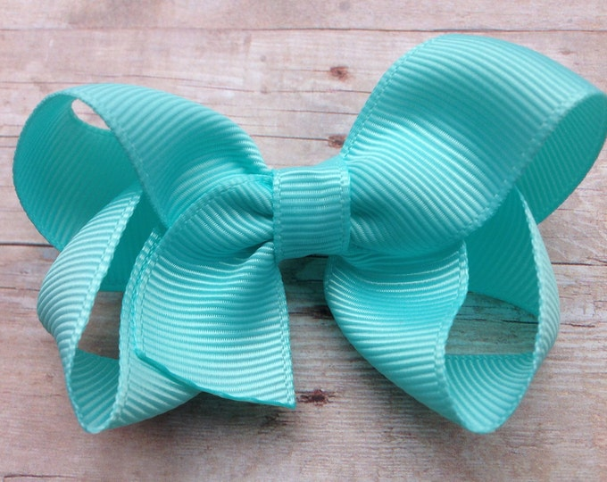 Baby blue hair bow - hair bows for girls, baby bows, toddler bows, 3 inch hair bows