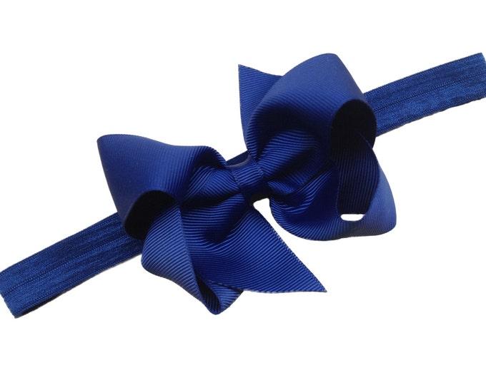 Navy blue baby headband - baby headband bows, baby bows, baby bow headbands, baby hair bows, hair bows, newborn headbands