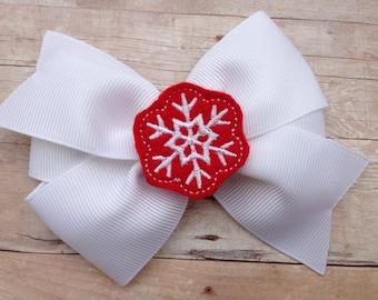 Snowflake hair bow - Christmas bow, hair bows, 4 inch hair bows