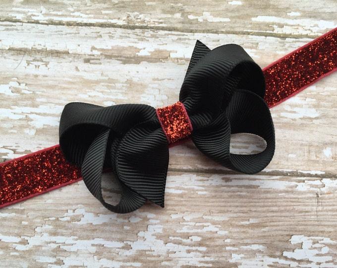 Baby headband - red baby headband, newborn headband, baby headband bows, bow headbands, baby bows, baby girl headbands, hair bows, baby girl