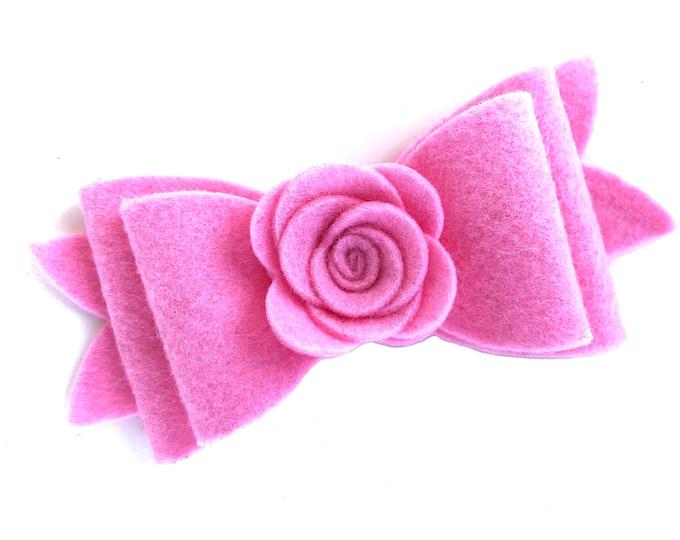 Pink felt hair bow - felt bows, hair bows, girls bows, baby bows, felt hair bows, girls hair bows, toddler bows, bows for girls