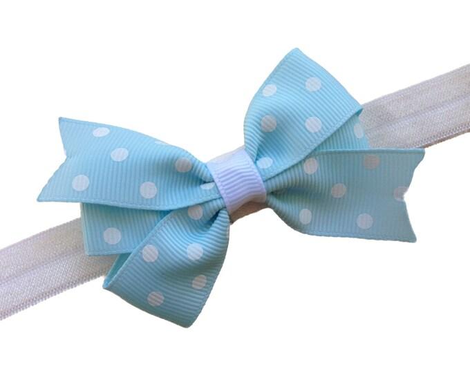 Light blue baby headband - baby headband bows, baby girl headbands, newborn headbands, baby bows, hair bows