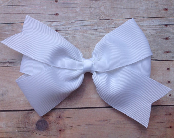 White hair bow - 5 inch hair bows, hair bows, hair bow, bows, hair clips, hair bows for girls, big hair bows, girls hair bows, hairbows