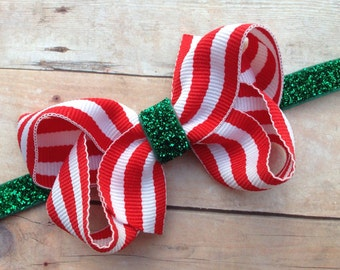 Red & white striped bow on green glitter baby headband - red baby headband, baby bows, red headband, Christmas headband