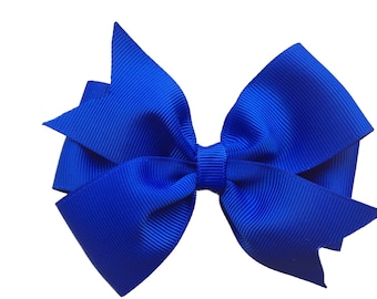 Royal blue hair bow - hair bows, hair clips, hair bows for girls, girls bows, toddler bows, baby bows, 4 inch hair bows